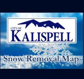 City Logo on top of snow flakes with the title &#34Snow Removal Map&#34