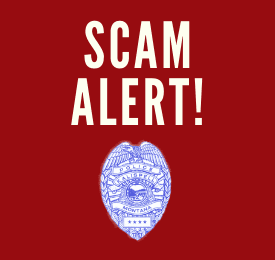 "Text, ""Scam Alert!"" with Kalispell Police Logo"
