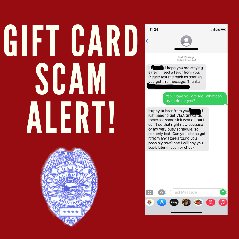 Title, Gift Card Scam Alert! with Kalispell Police Logo and sample texts